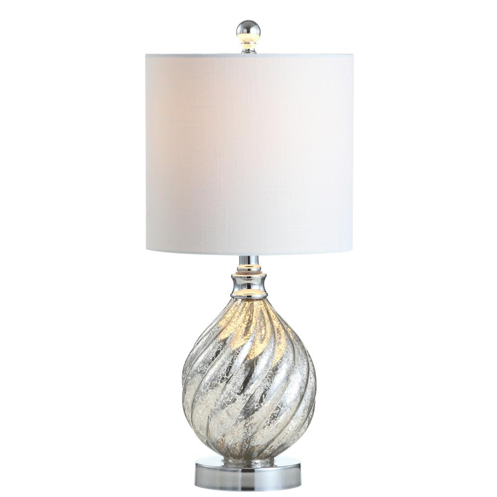 JONATHAN Y Lawrence 20.5 in. Mercury Silver Glass/Metal LED Table Lamp
