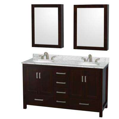 Sheffield 60 in. Double Vanity in Espresso with Marble Vanity Top in Carrara White and Medicine Cabinets