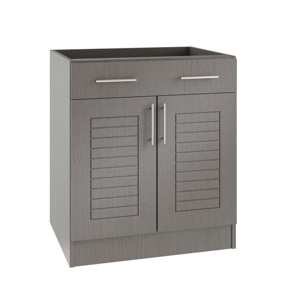 Weatherstrong West Outdoor Kitchen Base Cabinet Doors Drawer Rustic Assembled Product Photo