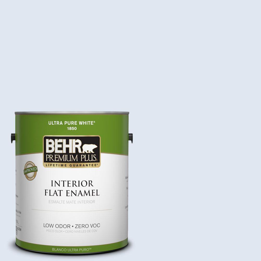 BEHR Premium Plus 1-gal. #580A-1 Fog Zero VOC Flat Enamel Interior Paint-DISCONTINUED