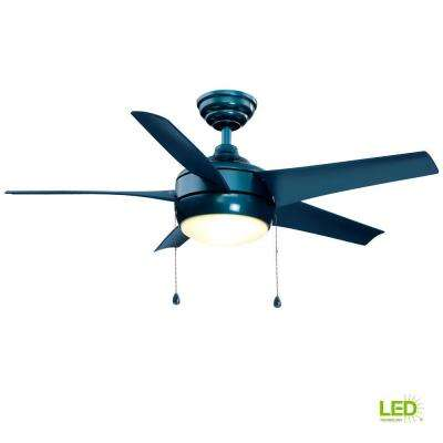 Windward 44 in. LED Blue Ceiling Fan with Light Kit