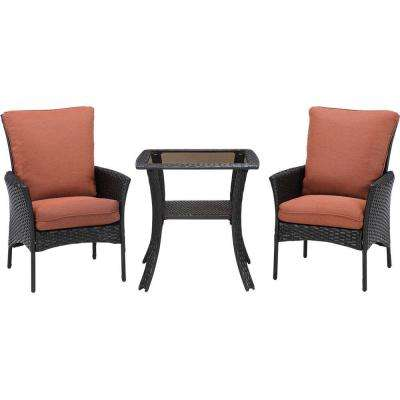 Strathmere Allure 3-Piece All-Weather Wicker Square Patio Bistro Set with Woodland Rust Cushions