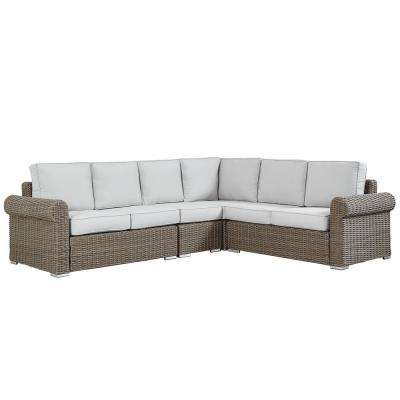 Camari Mocha Rolled Arm Wicker Outdoor Sectional with Beige Cushion
