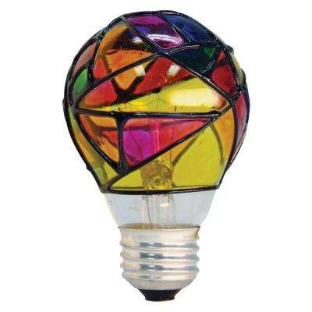 25-Watt Incandescent A19 Stained Glass Light Bulb