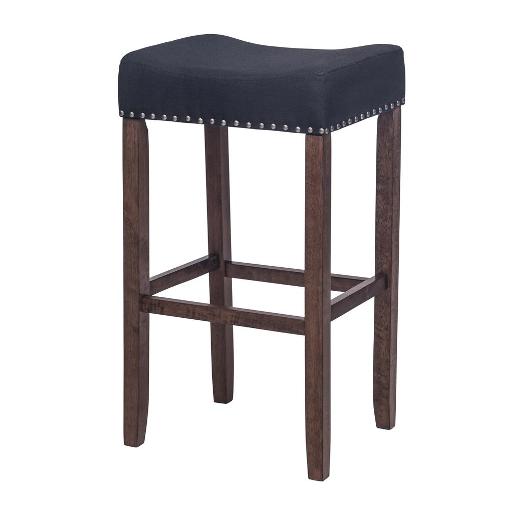 Antique Coffee And Black Cushioned Bar Stool