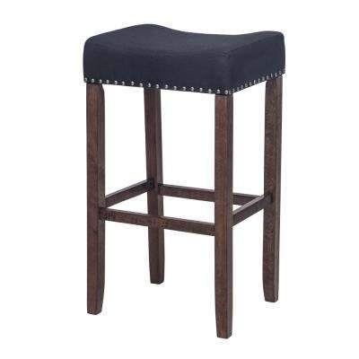 Hylie Nail Head 29 in. Antique Coffee and Black Cushioned Bar Stool