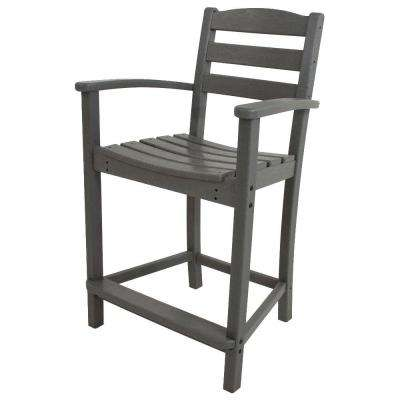 La Casa Cafe Slate Grey Plastic Outdoor Patio Counter Arm Chair