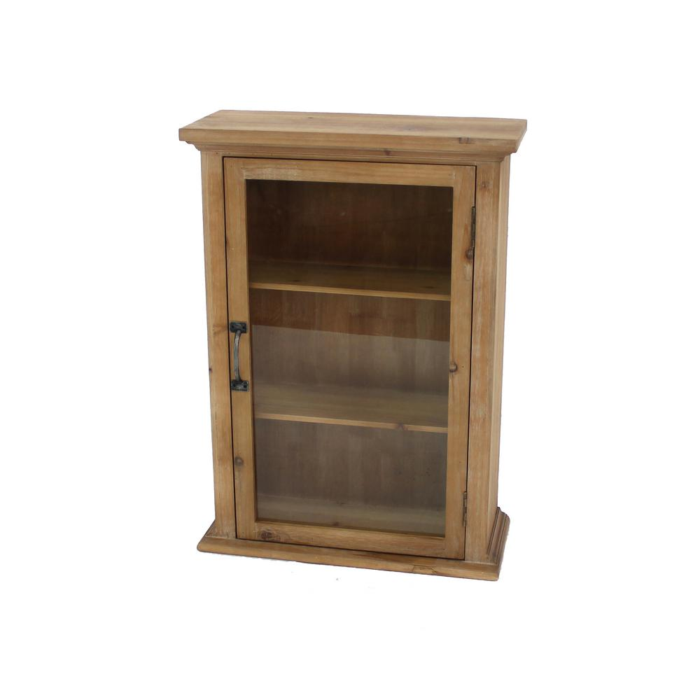 Brown Wood Glass Storage Cabinet