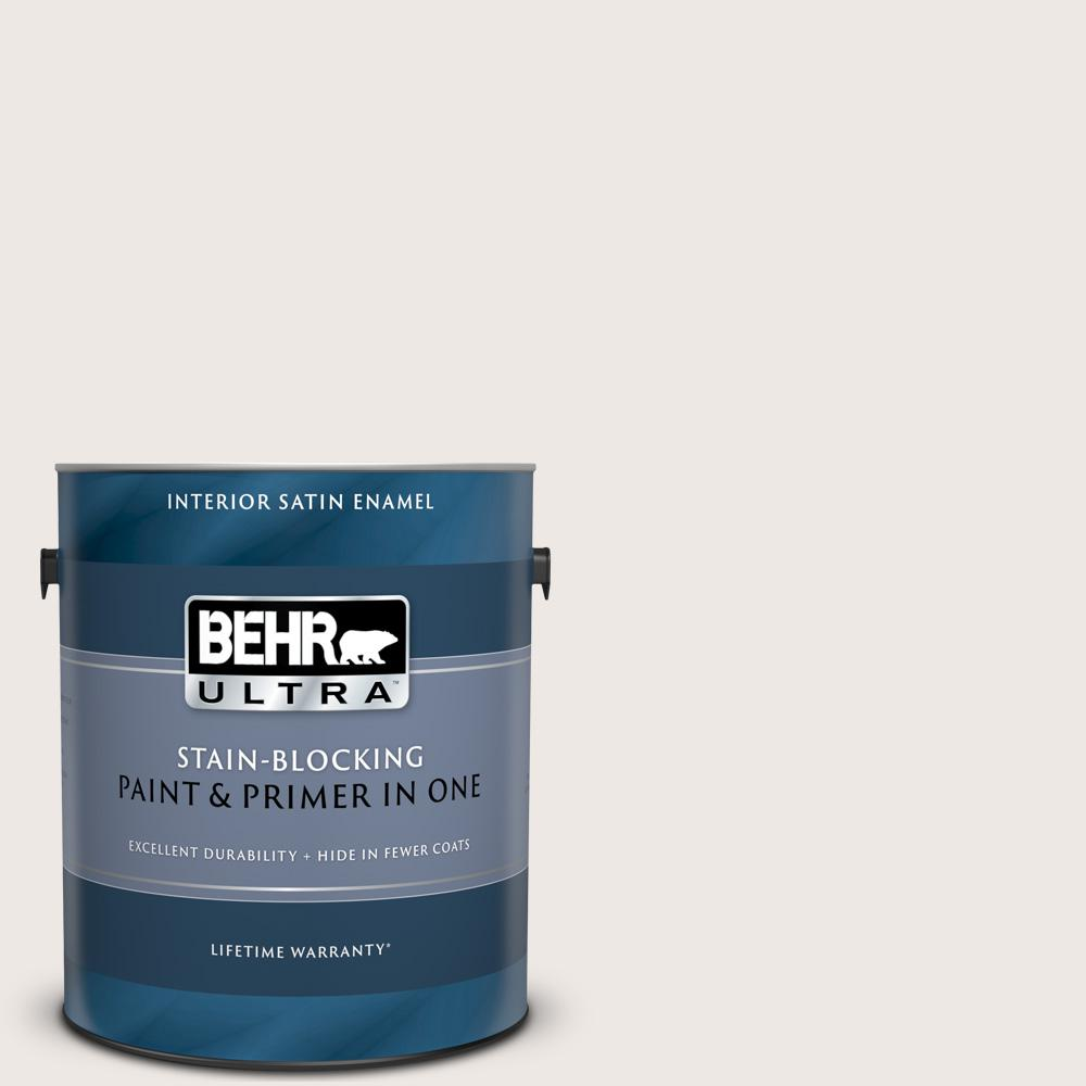 Behr Ultra 1 Gal Pwn 69 Fine Linen Satin Enamel Interior Paint And Primer In One 775001 The Home Depot