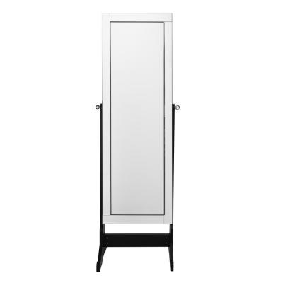 Adele Cheval Elegant Black Floor Mirror Jewelry Armoire with LED Lights