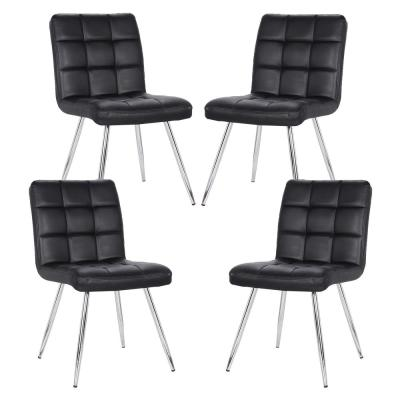 Petras Black Vegan Leather Chair (Set of 4)