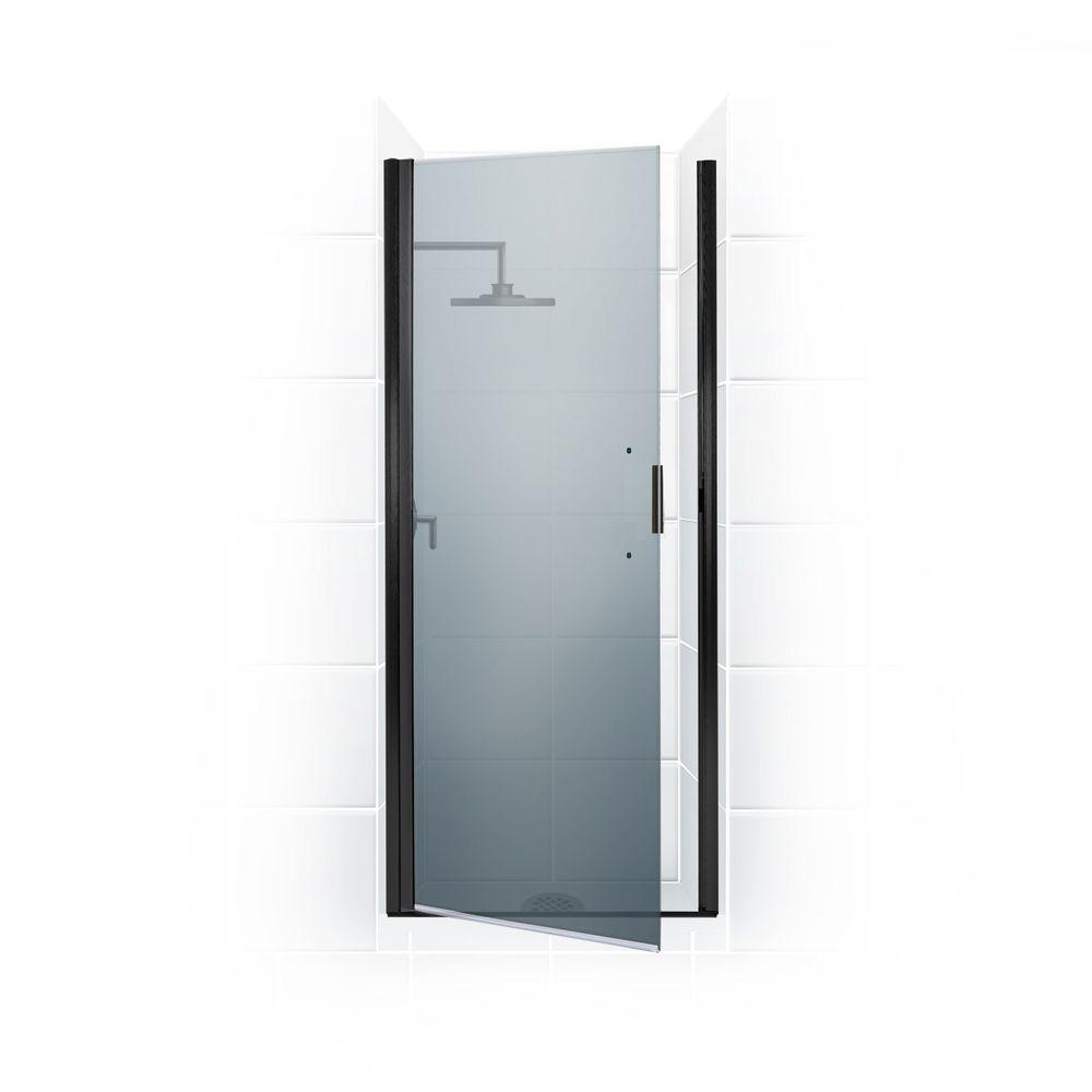 Coastal Shower Doors Paragon Series 25 in. x 74 in. Semi-Framed Continuous Hinge Shower Door in Oil Rubbed Bronze with Satin Etched Glass