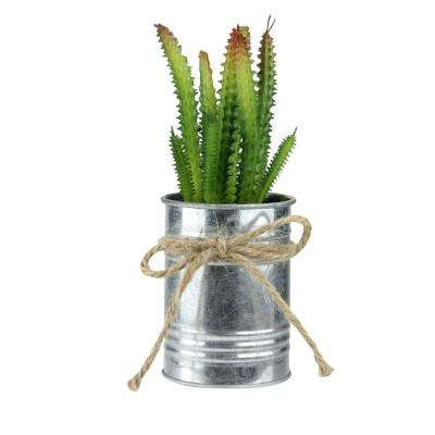 7 in. Tropical Ombre Mini Artificial Spiky Greenery in Tin Planter with Twine Bow
