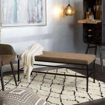 Shelby Distressed Brown Upholstered Square Metal Bench