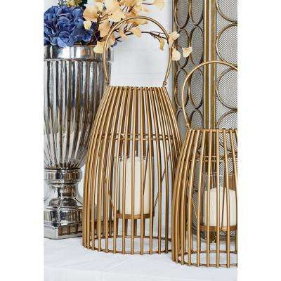 Gold Cage-Inspired Candle Lantern with Handle