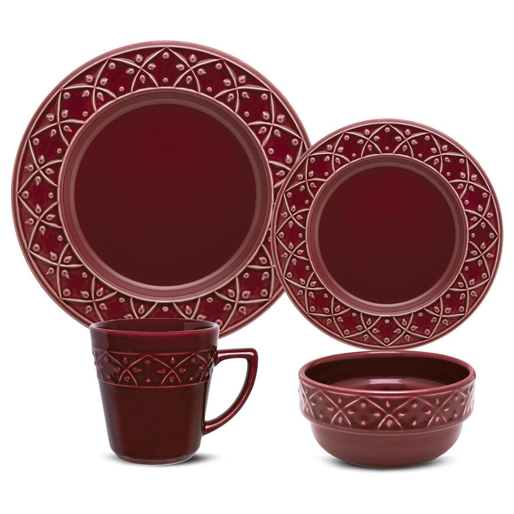 Manhattan Comfort Mendi Maroon Red 16-Piece Casual Maroon Red Earthenware Dinnerware Set (Service for 4) was $169.99 now $110.61 (35.0% off)