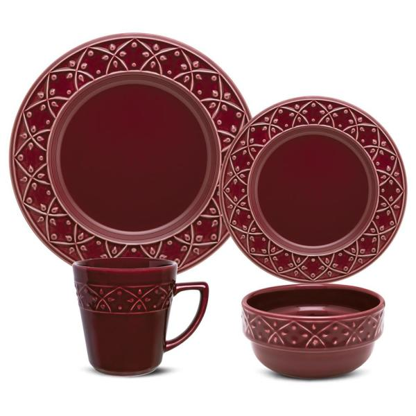 Mendi Maroon Red 16-Piece Casual Maroon Red Earthenware Dinnerware Set (Service for 4)