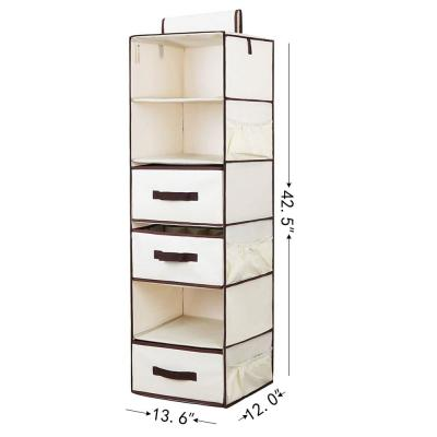 6-Shelf Natural Polyester Hanging Closet Organizer with 3-Drawers