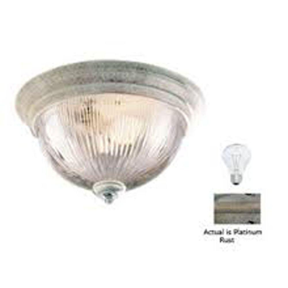 Filament Design Lenor 3-Light Platinum Rust Incandescent Ceiling Flush Mount