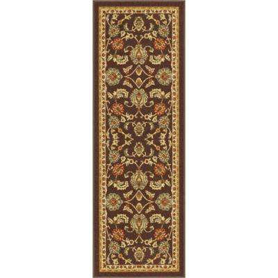 Kings Court Tabriz Brown 3 ft. x 12 ft. Traditional Runner Rug