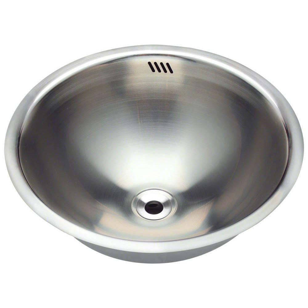 Polaris Sinks TriMount Bathroom Sink In Stainless SteelP The - Small stainless steel bathroom sink