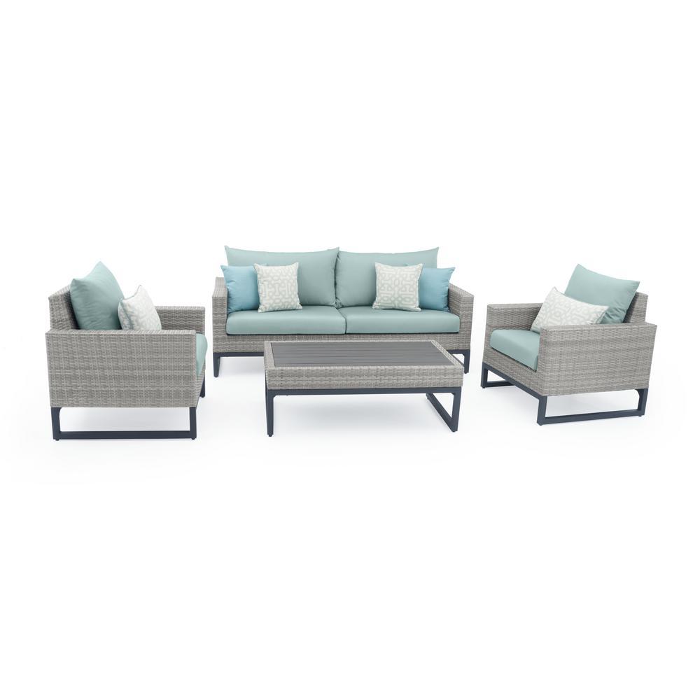 Milo Grey 4-Piece Wicker Patio Deep Seating Conversation Set with Sunbrella Spa Blue Cushions