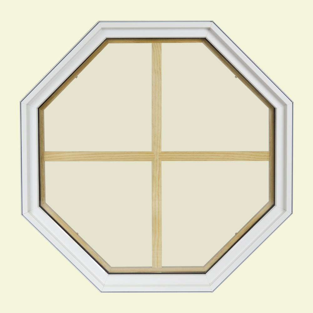 24 in. x 24 in. Octagon White 4-9/16 in. Jamb 4-Lite
