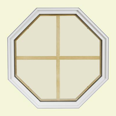 24 in. x 24 in. Octagon White 4-9/16 in. Jamb 4-Lite Grille Geometric Aluminum Clad Wood Window