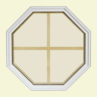 24 in. x 24 in. Octagon White 6-9/16 in. Jamb 4-Lite Grille Geometric Aluminum Clad Wood Window