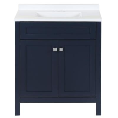 Maywell 30.5 in. W x 18.75 in. D x 37.7 in. H Vanity in Blue with Cultured Marble Vanity Top in White with White Sink