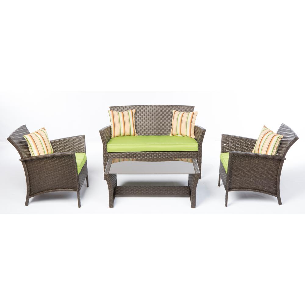 Alfresco 4-Piece Bimini All-Weather Wicker Patio Conversa...