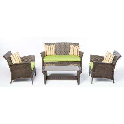 4-Piece Bimini All-Weather Wicker Patio Conversation Set with Green Cushions and Throw Pillows