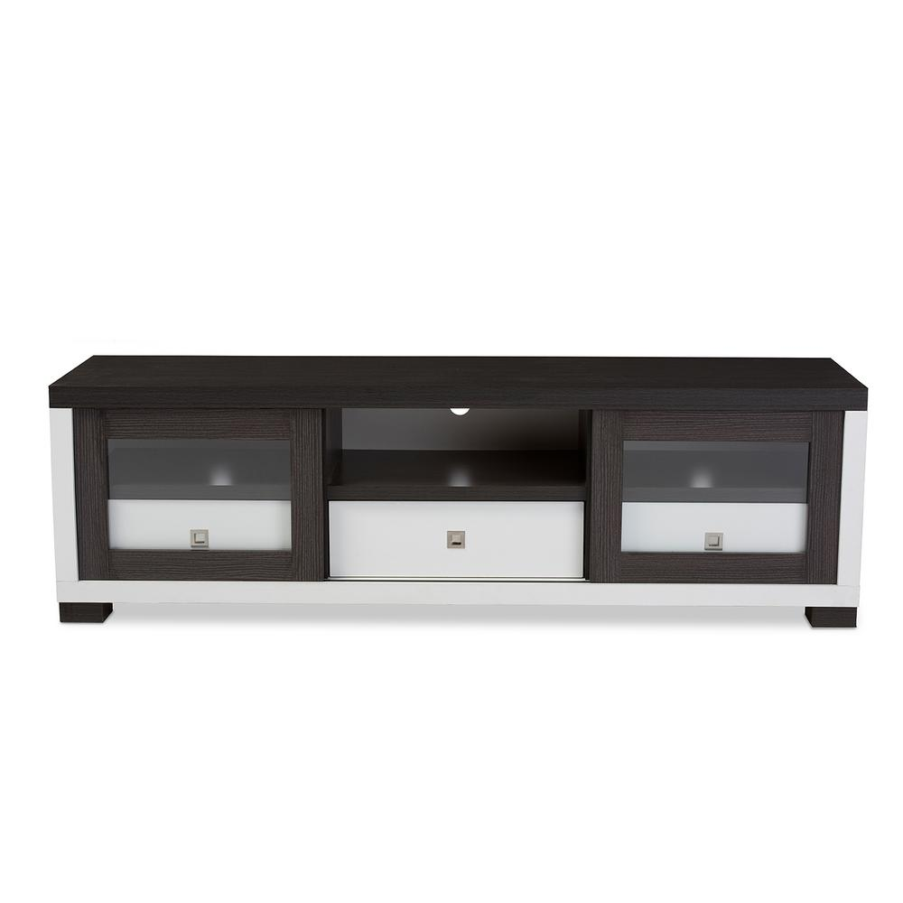 Oxley White and Dark Brown Wood Storage Entertainment Center