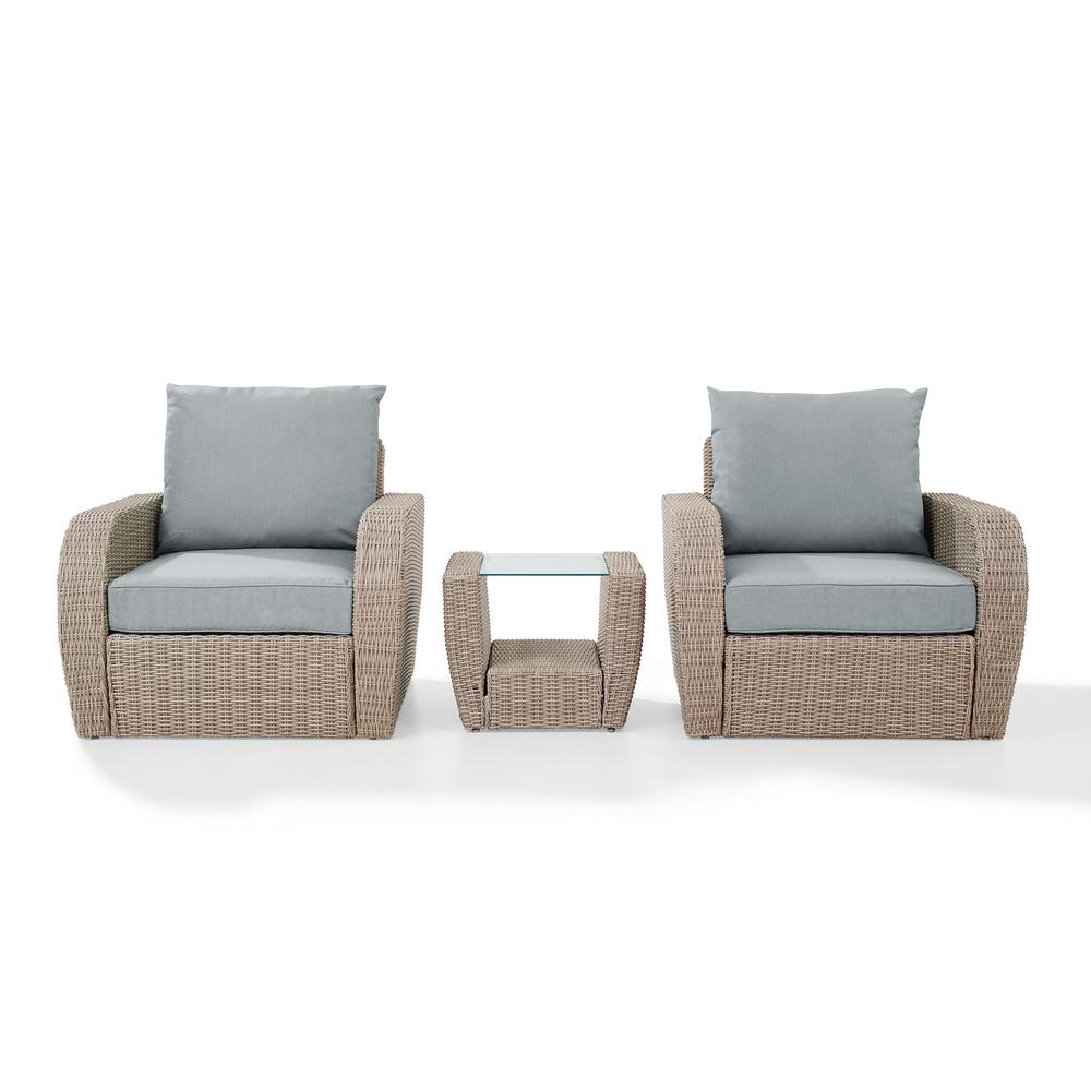 Fine Crosley St Augustine 3 Piece Wicker Patio Outdoor Seating Set With Mist Cushion 2 Chairs Side Table Short Links Chair Design For Home Short Linksinfo