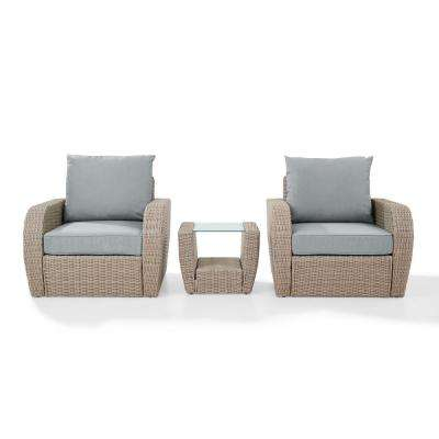 St Augustine 3-Piece Wicker Patio Outdoor Seating Set with Mist Cushion - 2-Chairs, Side Table