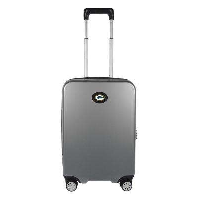 NFL Green Bay Packers Premium Silver 22 in. 100% PC Hardside Carry-On Spinner w/ Charging Port Suitcase