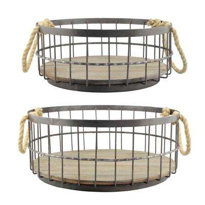 14 in. x 6 in. Wire and Wood Coastal Baskets (Set of 2)