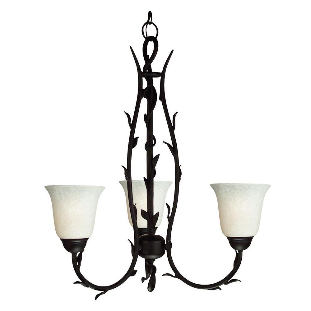 Tulen Lawrence 3 Light Ceiling Matte Black Incandescent Chandelier-DISCONTINUED