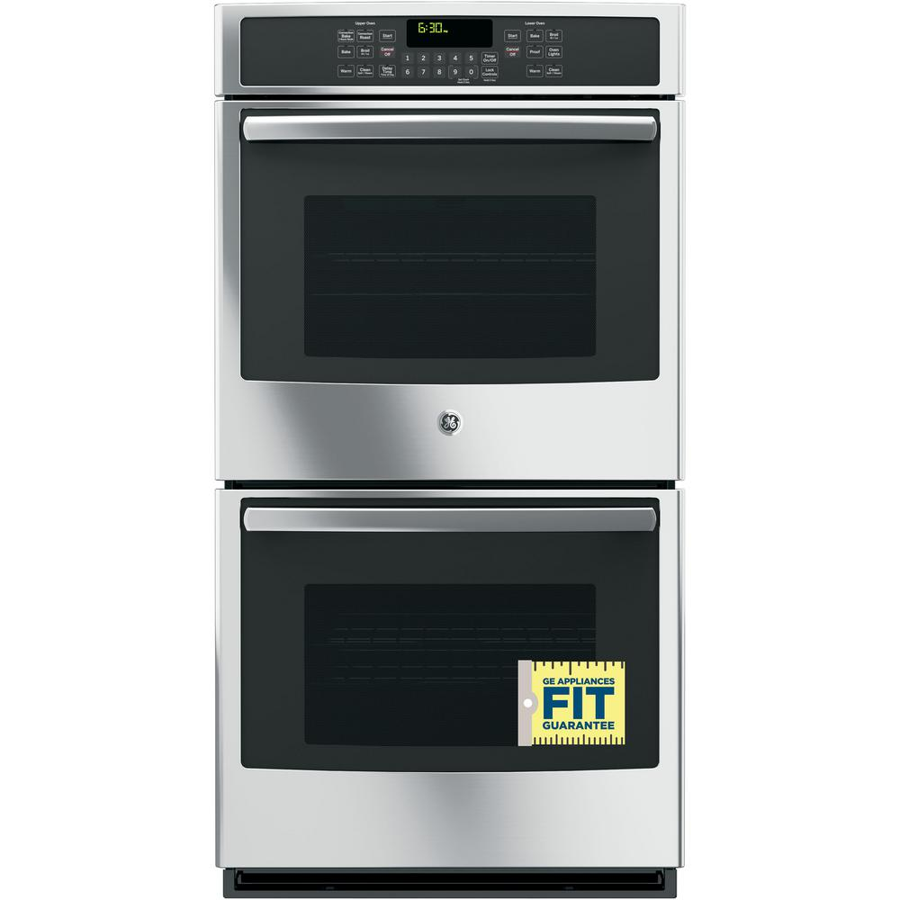 GE 27 in. Double Electric Wall Oven with Convection (Upper Oven) Self-Cleaning in Stainless Steel