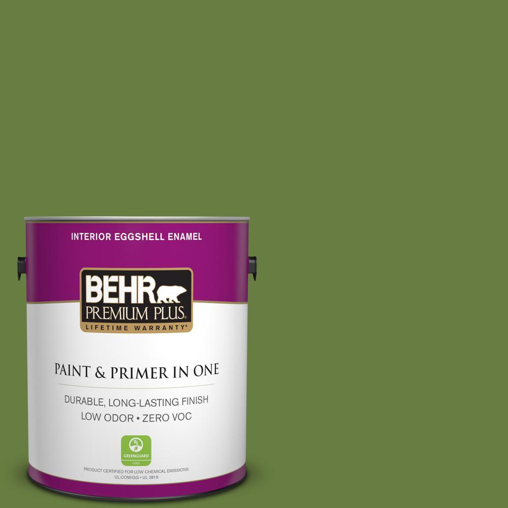 BEHR Premium Plus 1 gal. #M360-7 Rockwall Vine Eggshell Enamel Zero VOC Interior Paint and Primer in One