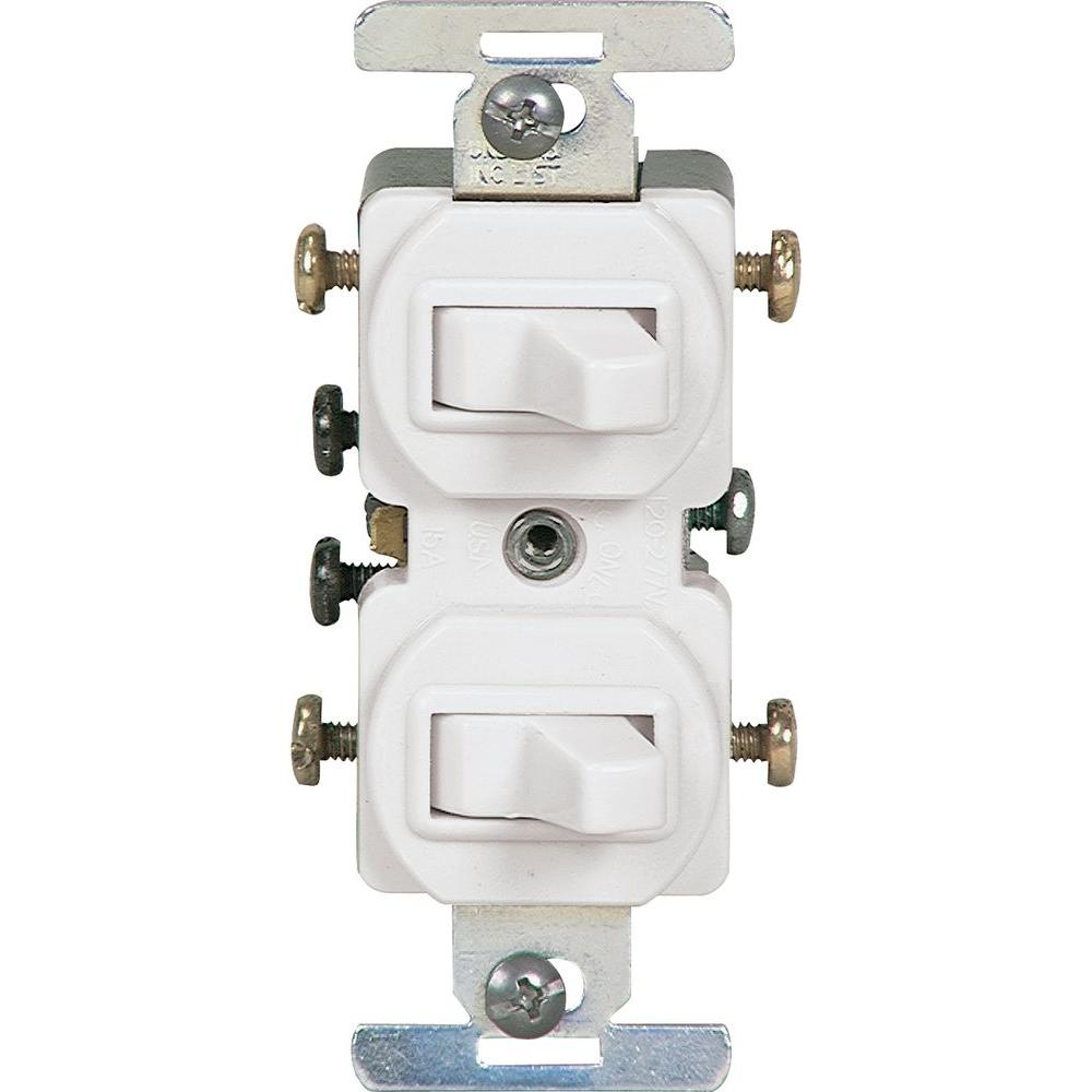 15 Amp Commercial Grade Toggle Duplex Switch, White