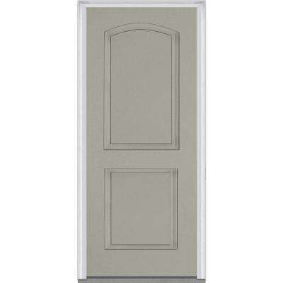 32 in. x 80 in. Right-Hand Inswing 2-Panel Archtop Classic Painted Fiberglass Smooth Prehung Front Door