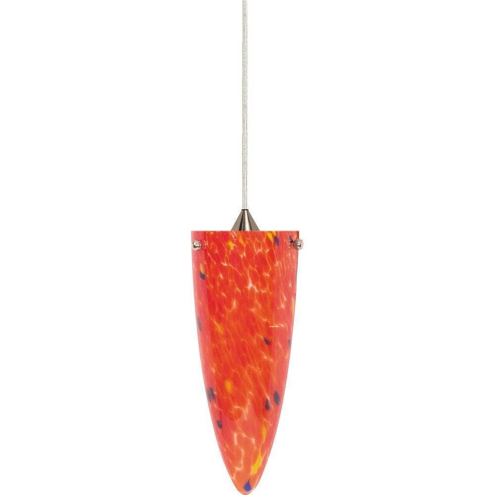 Glomar 1-Light Brushed Nickel Halogen Pendant with Molten Lava Cone Glass -DISCONTINUED