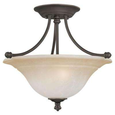 Harmony 2-Light Aged Bronze Ceiling Semi-Flush Mount Light