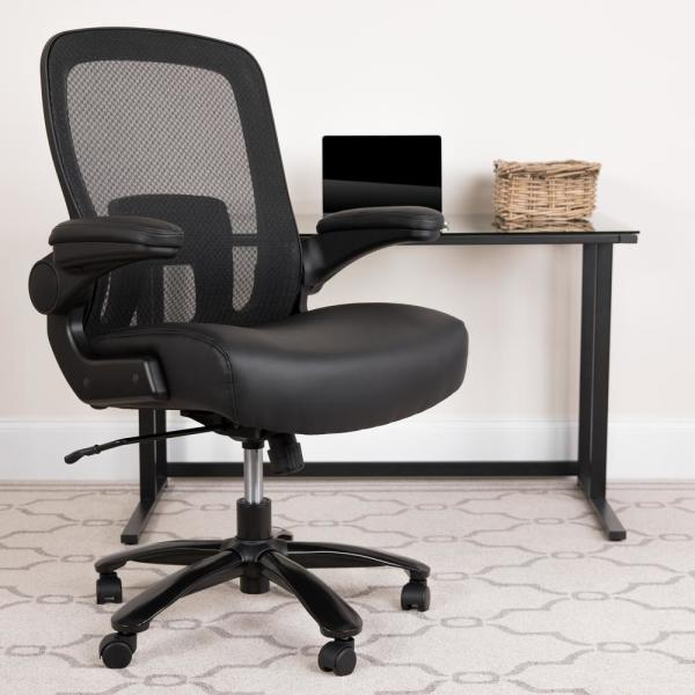 Flash Furniture Carnegy Avenue Black Leather/Mesh Metal Office/Desk Chair