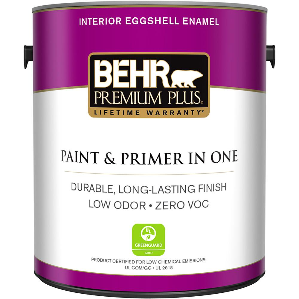 behr premium plus 1 gal ultra pure white eggshell enamel zero voc interior paint and primer in one 205001 the home depot