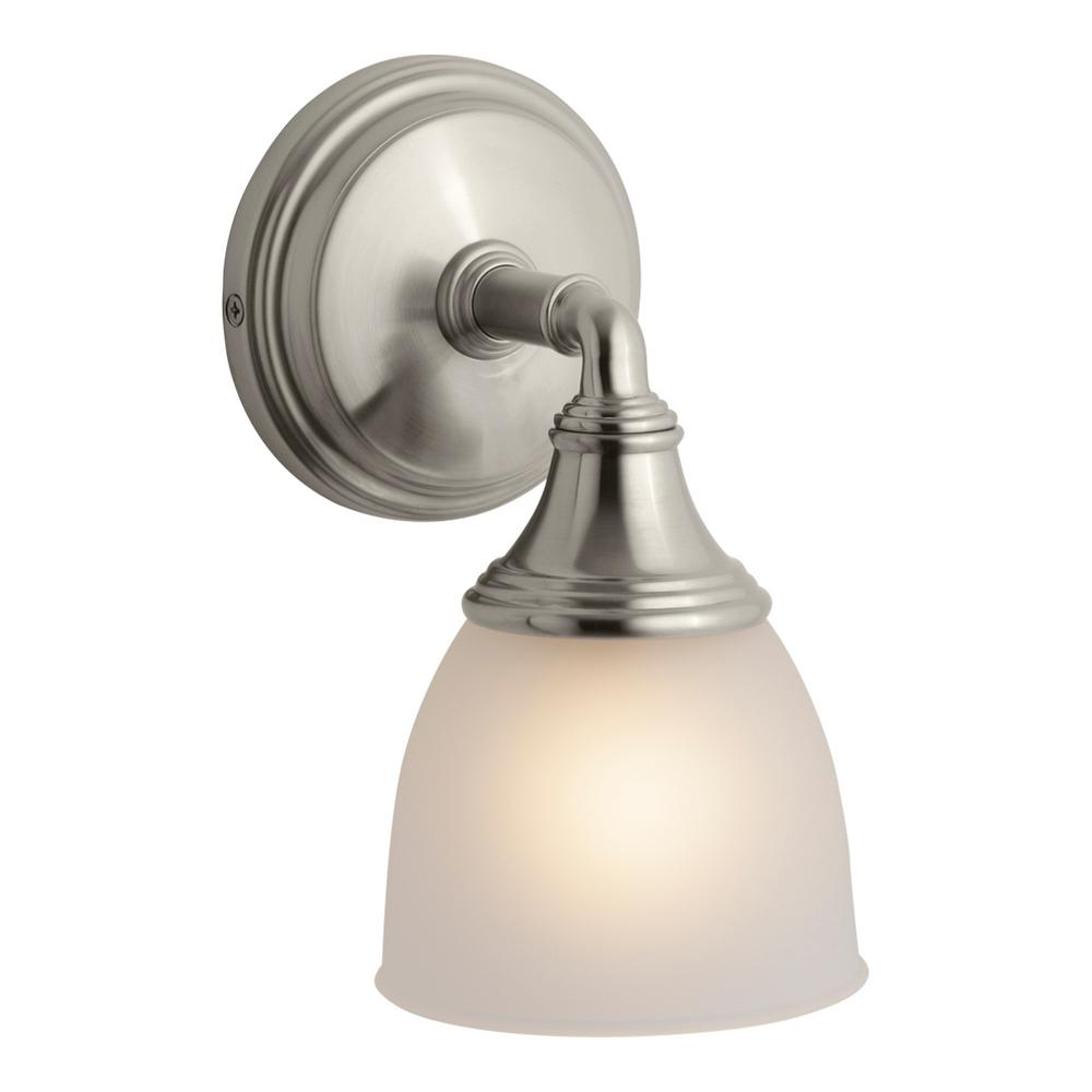 Kohler Devonshire 1 Light Brushed Nickel Wall Sconce K 10570 Bn The Home Depot