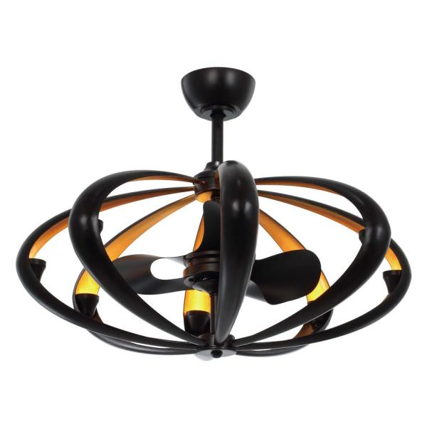 Ambience 33.5 in. Integrated LED Indoor Bronze/Gold Fandelier with Remote Control