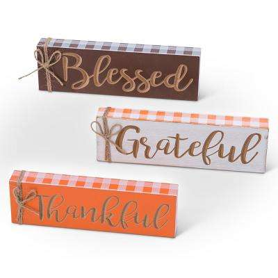 7.8 in. L x 0.9 in. Assorted Tabletop Harvest Sign Blocks (Set of 3)