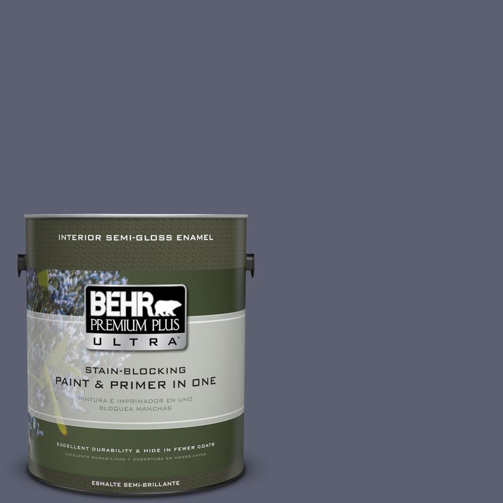BEHR Premium Plus Ultra 1-gal. #S550-6 Mysterious Night Semi-Gloss Enamel Interior Paint